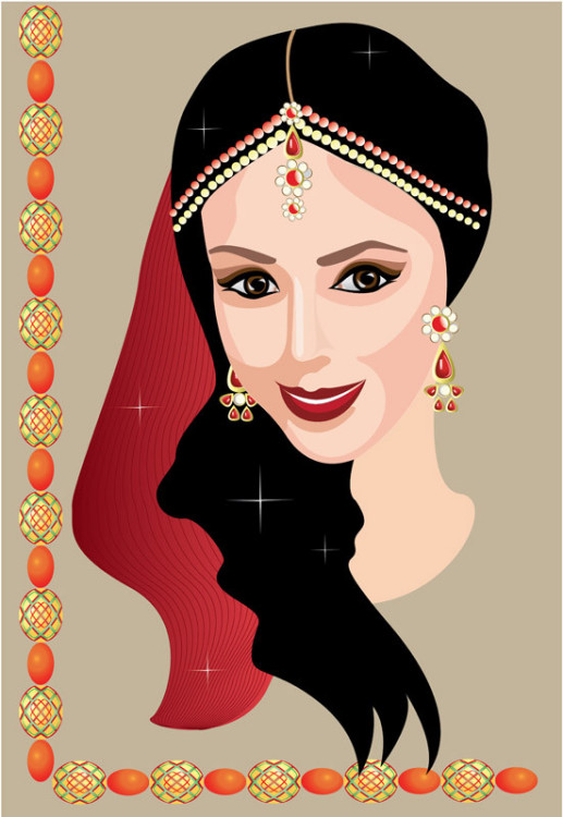 Indian woman with jewelry  -  - Arte digital