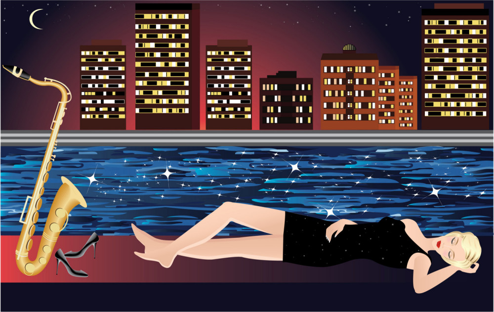 vector girl dreaming with saxophone with night city and river on the background  -  - Arte digital