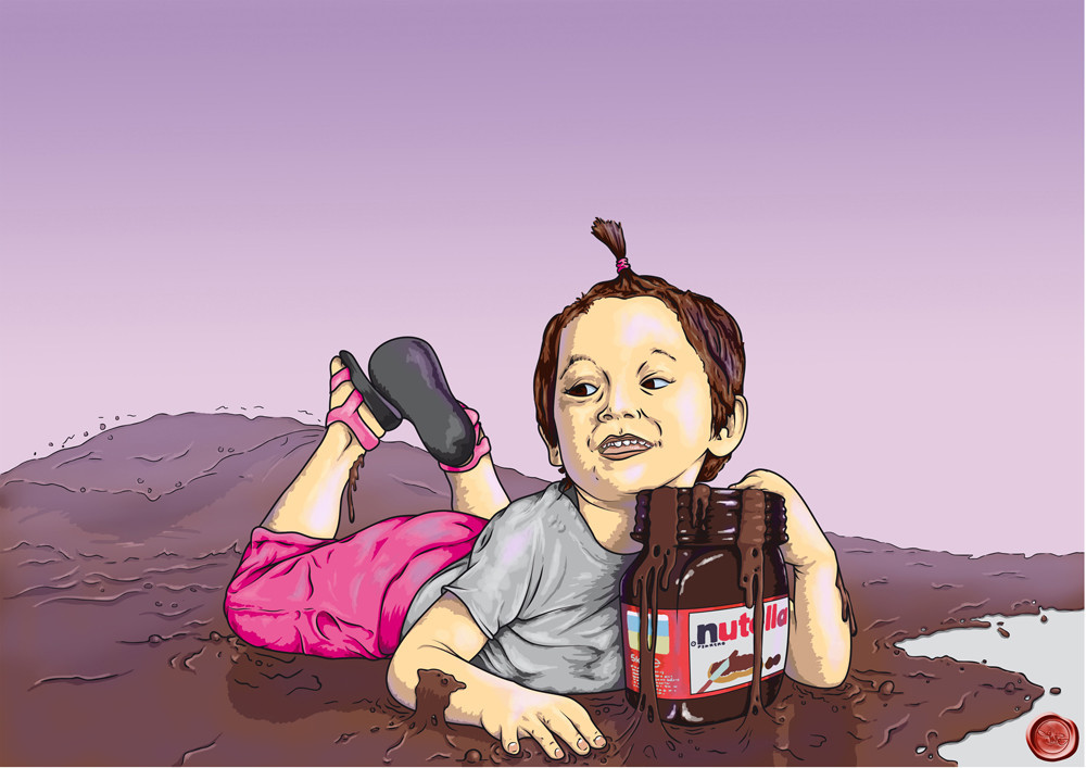 Adora just discovered a sea of Nutella -  - Arte Digital