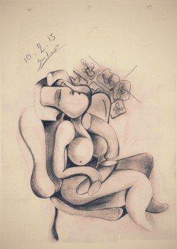 femme assise -  - GALERÍA VIRTUAL DIBUJO