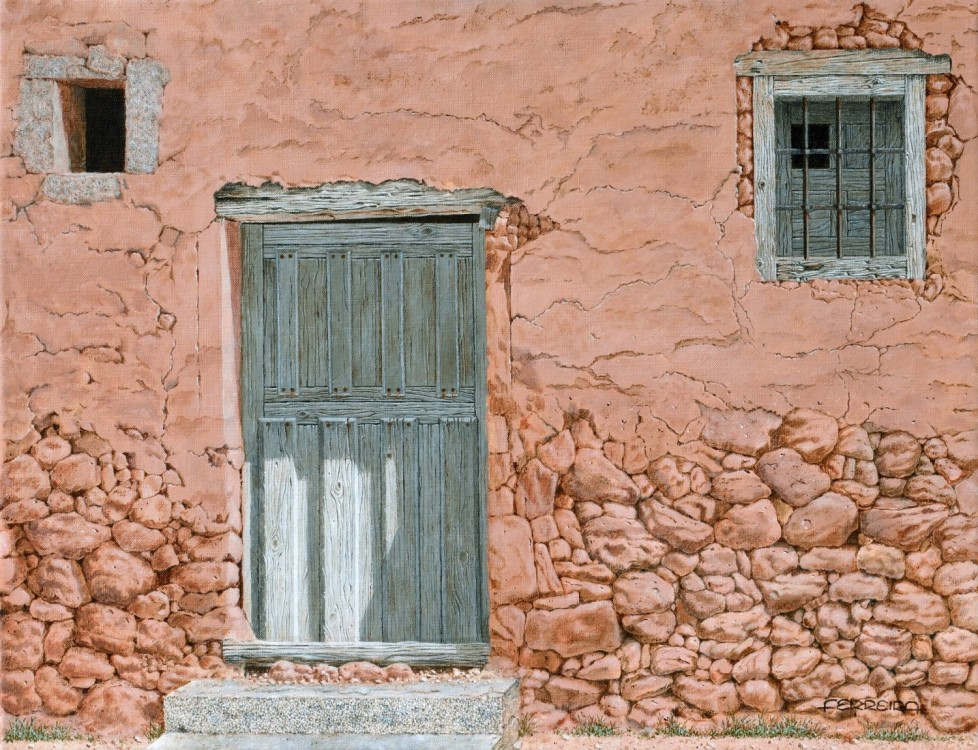 Old door, acrylic on canvas 65 x 50 cm -  - Pintura