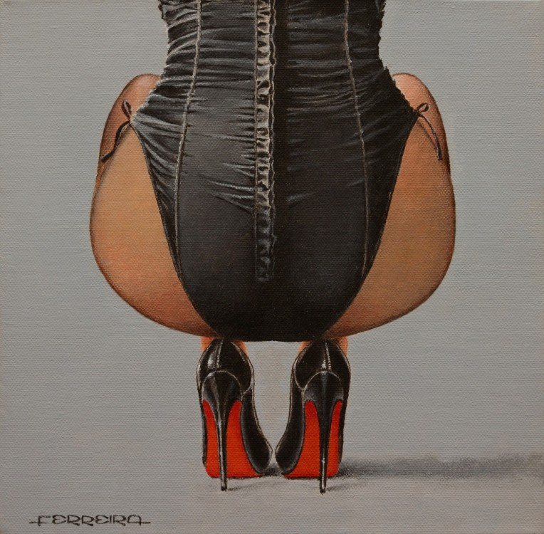High heels, acrylic on canvas 30 x 30 cm -  - Pintura