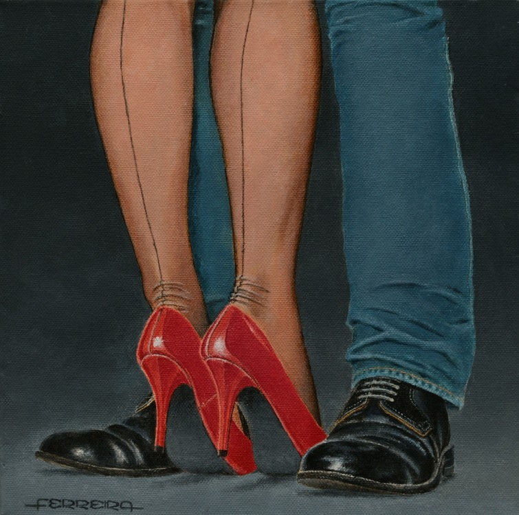 Red shoes, acrylic on canvas 30 x 30 cm -  - Pintura