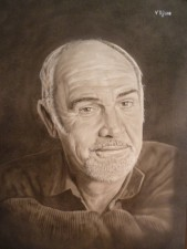 Sean Connery. Oleo sobre papel. 50x70 cm. -  - Dry brush (Pincel seco) - Oleo
